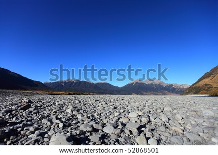 River stones in the Waimakariri River in the high country, Canterbury, New Zealand - stock photo