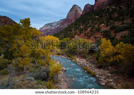 River stream with fall color at zion national park - stock photo