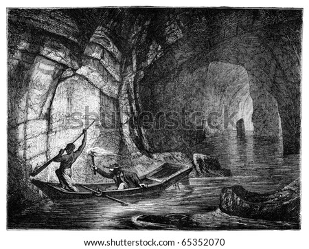 "River Styx in the Mammoth Cave. Illustration originally published in Hesse-Wartegg's ""Nord Amerika"", swedish edition published in 1880.  The image is currently in public domain by the virtue of age. - stock photo"