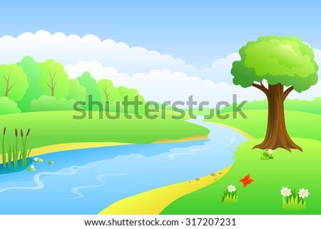River summer landscape day illustration  - stock photo
