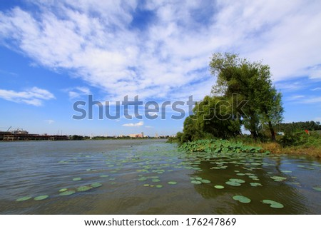 river summer scenery under the blue sky, Luannan, china - stock photo