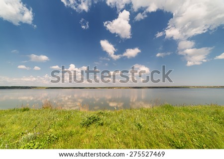River, summer, sunny day, clouds - stock photo