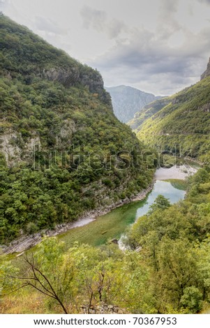 River Tara with it's beautiful green water running trough green Tara Canyon one of the world deepest Canyons and UNESCO World Heritage, Montenegro.