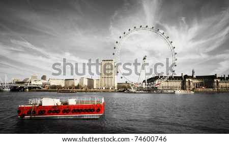 river Thames and London Eye - stock photo