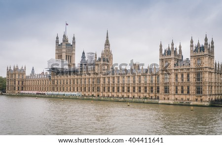 River Thames and Palace of Westminster (known as Houses of Parliament). Palace of Westminster located on bank of River Thames in City of Westminster, London. UK. - stock photo