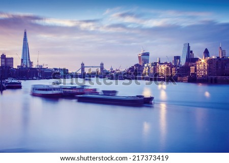 River Thames at sunset - stock photo