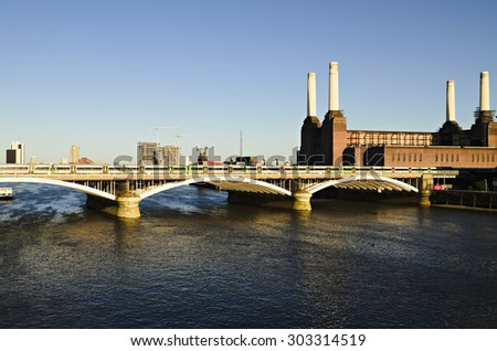 River Thames at the Battersea Power station - stock photo