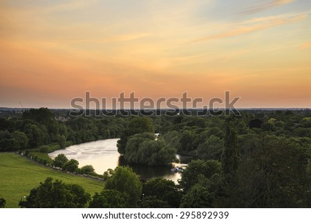 River Thames from Richmond Hill in London during beautiful Summer sunset - stock photo