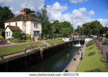 River Thames Lock Gate - stock photo