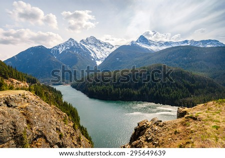 River Through Olympic National Park  - stock photo