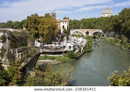 River Tiber in Rome, Italy - stock photo