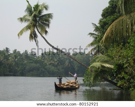 River transport of goods, Kerela Backwaters - stock photo