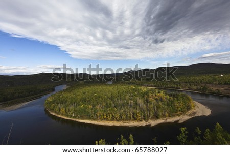 river turn back in the northeast of china - stock photo