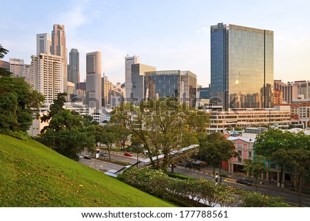 River Valley is Singapore's central business district. - stock photo