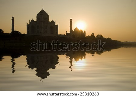 river view from the beautiful wonder of the world Taj Mahal at sunset, Agra, India - stock photo