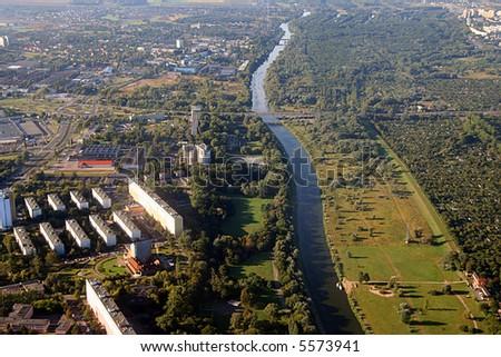river Warta, Poznan Poland - stock photo