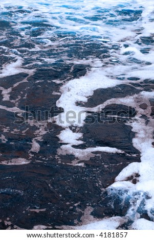 River water with foam - stock photo