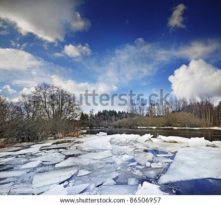 river with ice - stock photo