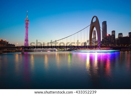 River with modern city landmark architecture backgrounds in Guangzhou China - stock photo