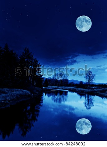 river with moon - stock photo
