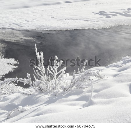 river with snow in the northeast of china - stock photo