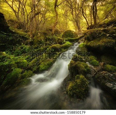 river with waterfall in forest on autumn morning - stock photo