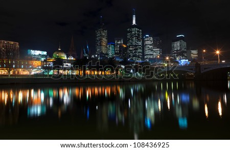 River Yarra and the CBD at night, Melbourne Victoria, Australia - stock photo