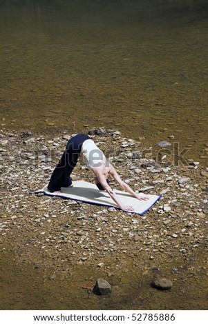 River Yoga - seen in Kentucky - stock photo