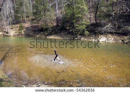 River Yoga - seen in Kentucky. - stock photo