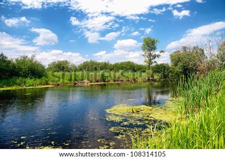 River Zala at Lake Balaton, Hungary - stock photo