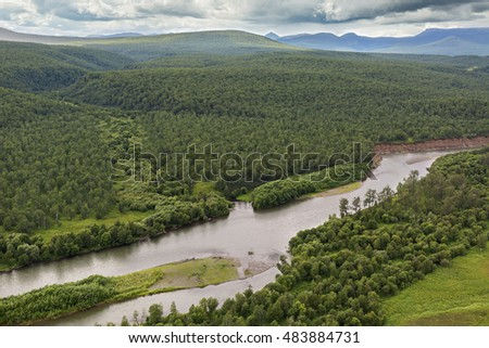 River Zhupanova. Kronotsky Nature Reserve on Kamchatka Peninsula. View from helicopter.