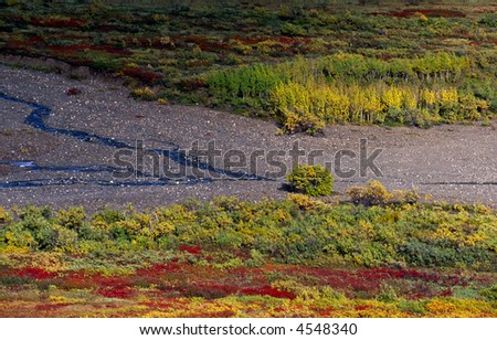 Riverbank in the valley - stock photo