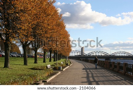 Riverbank of Daugava (Riga, Latvia, Europe). Daugava is the largest river in Latvia. - stock photo