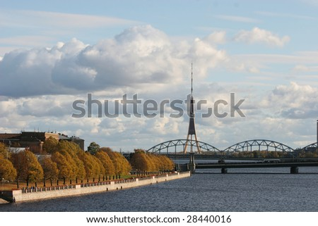 Riverbank of the Daugava (Riga, Latvia) - stock photo