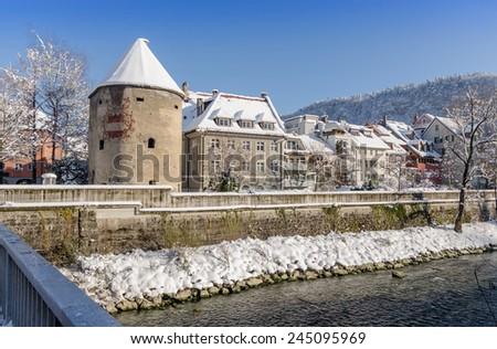 Riverbanks of Feldkirch in Austria - stock photo