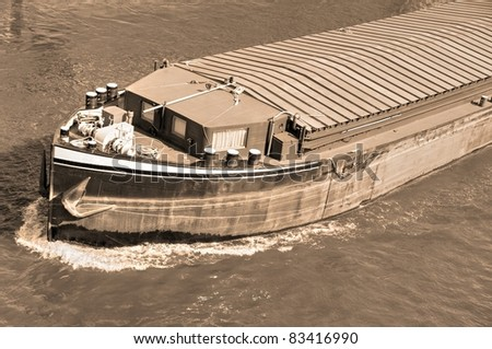 Riverboat in sepia - stock photo