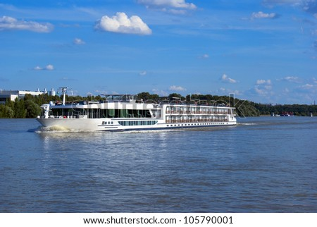 Riverboat on the Dunabious  river, Hungary - stock photo