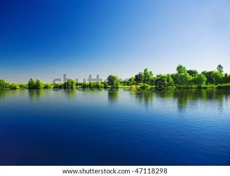 riverscape - stock photo