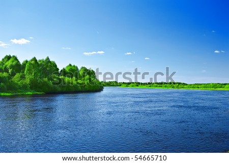 riverscape - stock photo