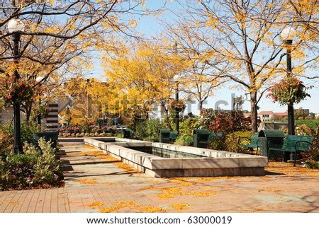 Riverscape Park in Dayton, Ohio in autumn - stock photo
