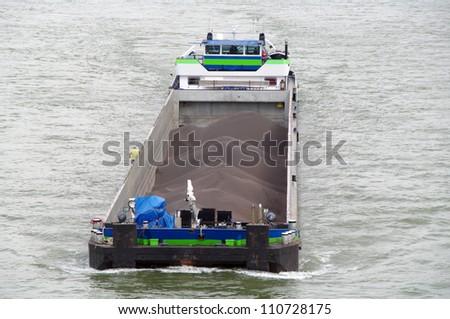 Rivership with coal - stock photo