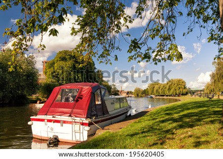 Riverside Boat in Stratford Upon Avon,UK - stock photo