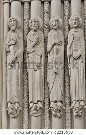 RIverside Church in New York City Historic Neo Gothic Church in Morningside Heights. Overlooking the Hudson River. Architectural details of wise men in religion,philosophy, and science. - stock photo