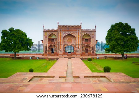 Riverside gate to Itmad-Ud-Daulah's tomb in Agra, Uttar Pradesh, India. Also known as the Jewel Box or the Baby Taj. - stock photo