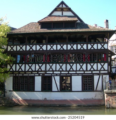 Riverside house in Strasbourg France - stock photo