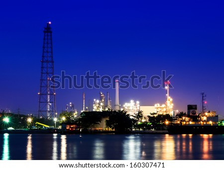 Riverside Oil refinery plant  at twilight time