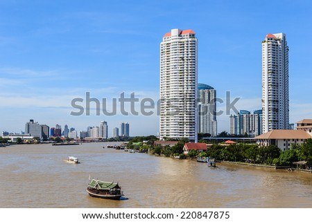 Riverside Skyscraper Buildings in Bangkok, Thailand