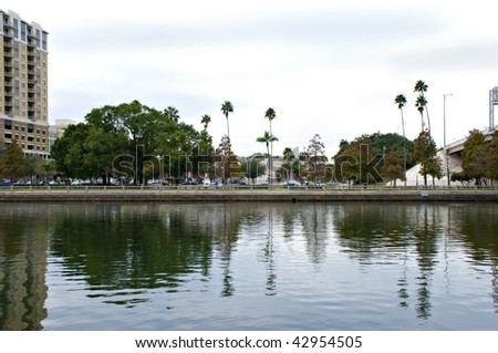 Riverside view in Tampa, Florida with palm trees and reflections - stock photo