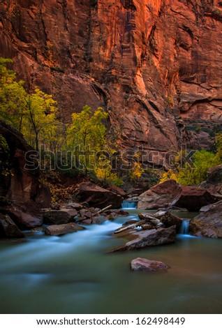 Riverside Walk Trail in Zion National Park in Utah, United States. - stock photo