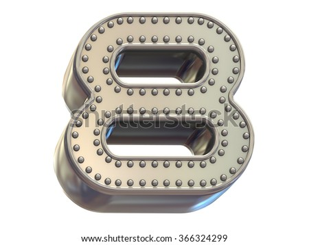 riveted metal number eight font - stock photo